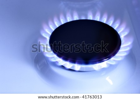 Blue gas flame on hob close up - stock photo