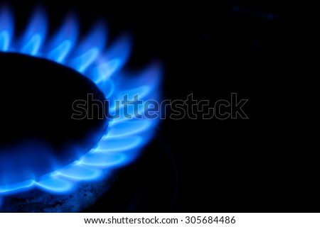Blue Gas Flames Offset to Left - stock photo
