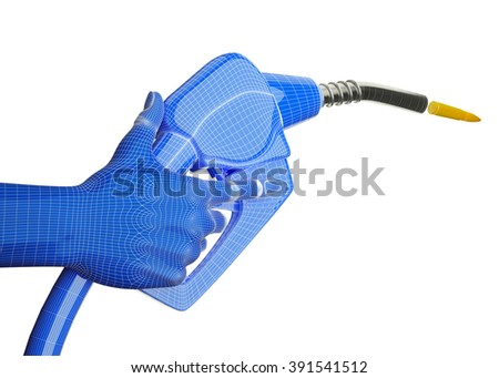 Blue gas pump firing bullet with strong perspective isolated on white - stock photo