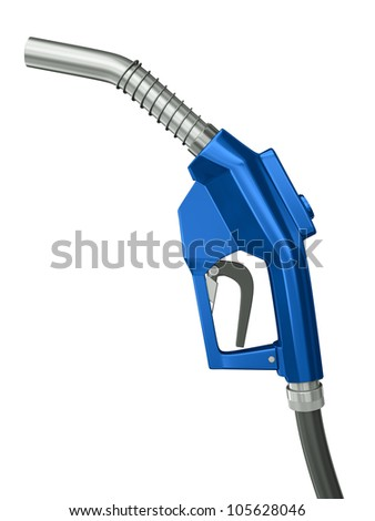 Blue gas pump nozzle  isolated on white background. 3D render. - stock photo
