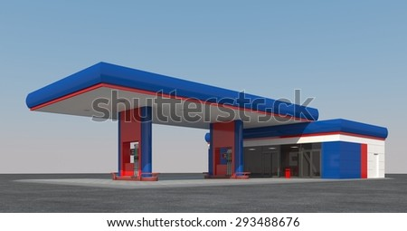 Blue gas station against the sky