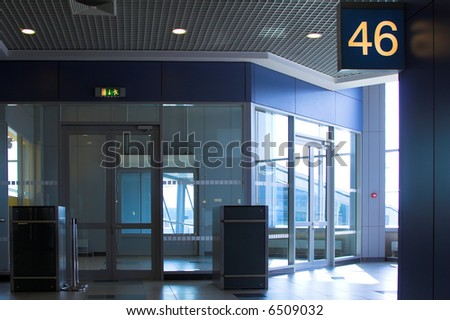 Blue gate 46 in airport terminal, Moscow, Russia - stock photo