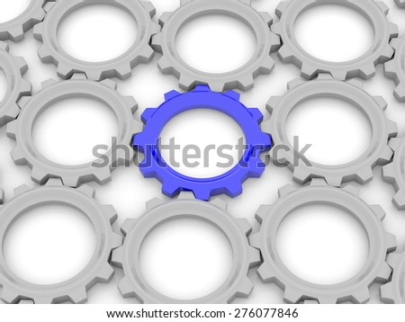 blue gear among the gray on a white background. The concept of leadership in the team. 3d - stock photo