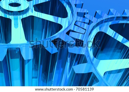 Blue gears background - stock photo