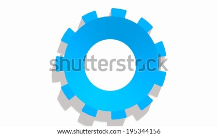 blue gears icon with long shadows