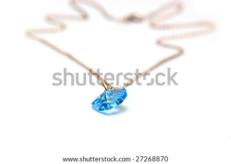 Blue gem on white background