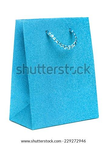 blue gift bag isolated on white background - stock photo