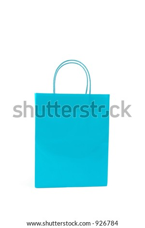 Blue gift bag on white background