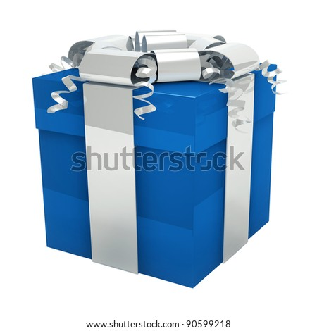 Blue gift box for him - stock photo
