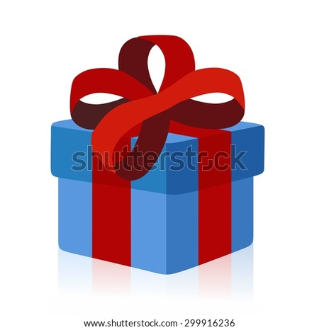 blue gift box isolated - stock photo