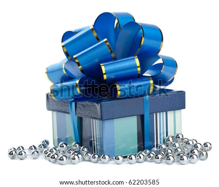 blue gift box isolated