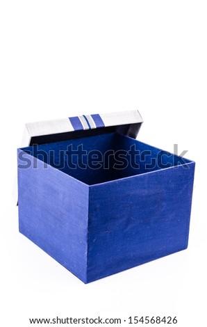 Blue gift box on white background - stock photo