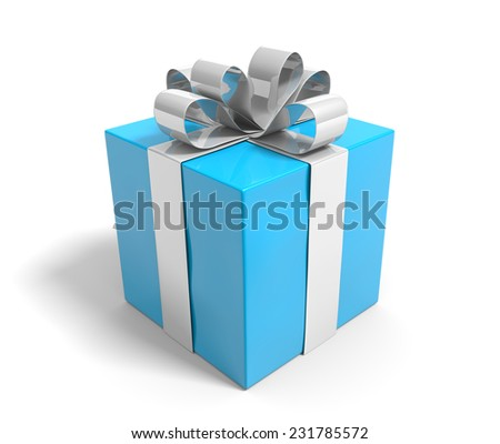 Blue gift box tied with a silver ribbon over white background - stock photo