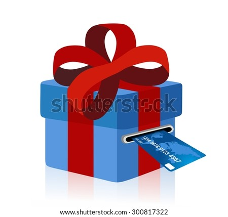 blue gift box with credit card - stock photo