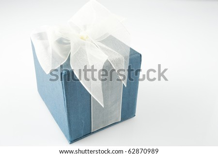 Blue Gift Box with Ribbon - stock photo