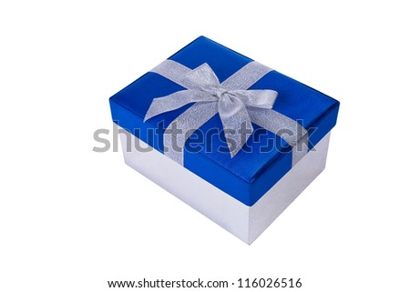 Blue gift box with silver bow isolated on white background