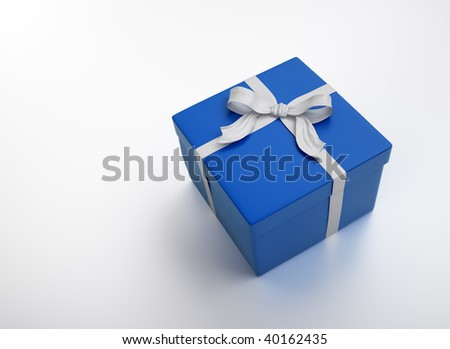 Blue gift with a white ribbon - christmas celebration image