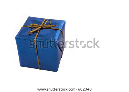 Blue gift with golden ribbon - copy space