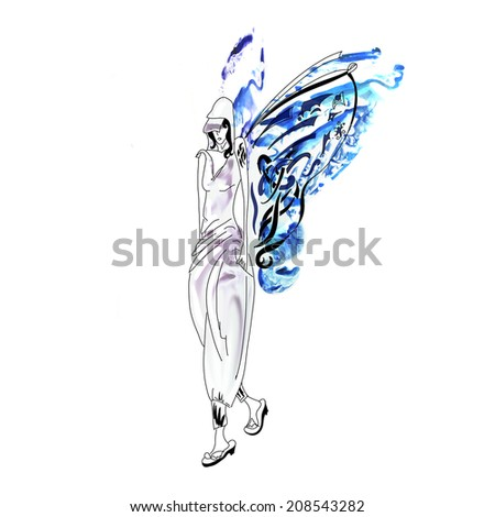 Blue girl elf butterfly sad - stock photo