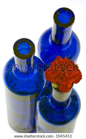 Blue Glass Bottles and Carnation - Wide Focus