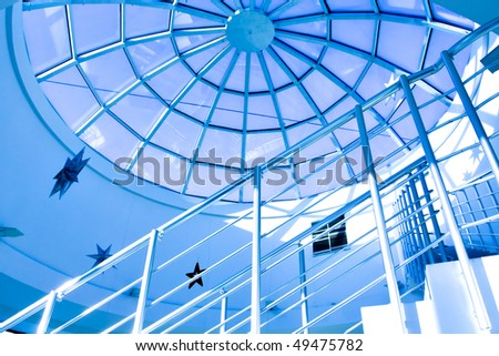 Blue glass ceiling