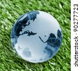 Blue Glass globe on grass background - stock photo