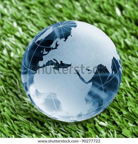 Blue Glass globe on grass background - stock photo