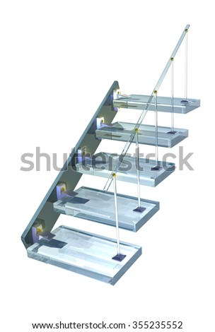 Blue glass Ladder with gold accessories - stock photo