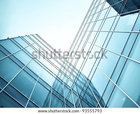 Blue glass skyscrapers at night - stock photo