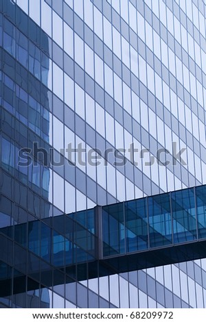 blue glass wall of skyscraper,detail