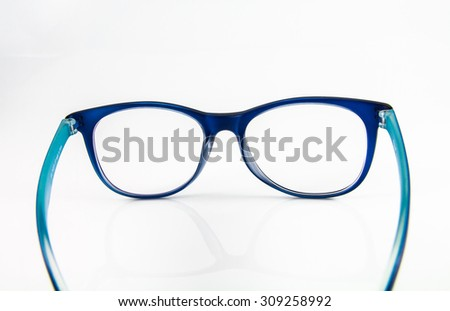 Blue glasses isolated on white background