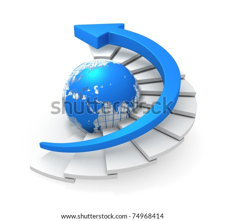 Blue Global Arrow Moving Upstairs - stock photo
