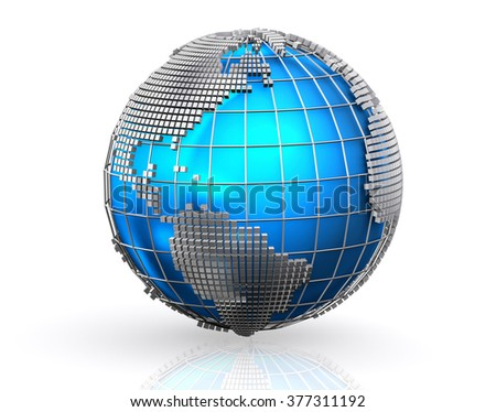Blue global business world background, Globalization concept. - stock photo