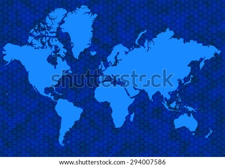 Blue global map with background hexagons - stock photo