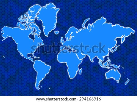Blue global map with glowing continents and background hexagons - stock photo