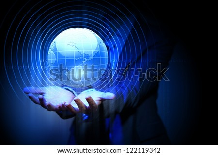 Blue global technology background with the planet Earth - stock photo