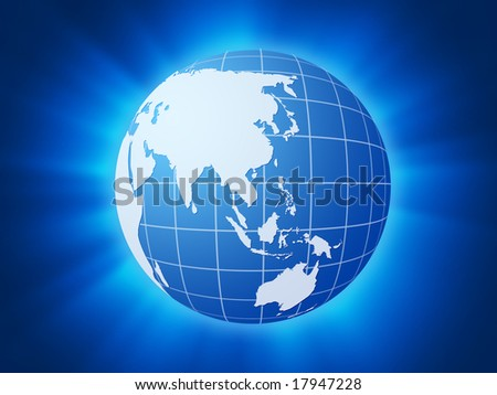 Blue globe on a shine explosion background.
