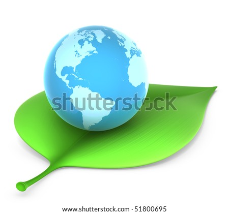 blue globe on green leaf - environmental conservation concept