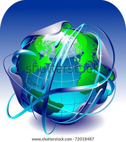 blue globe with arcs around it - stock photo