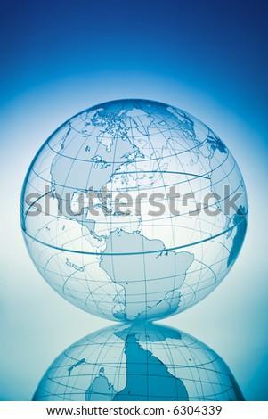 Blue globe with backlit light - stock photo