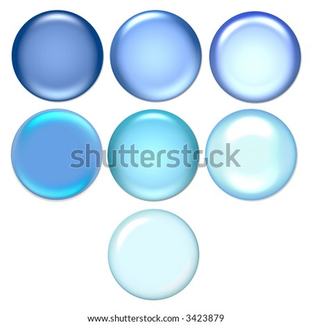 blue glossy buttons for design on a white background