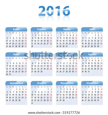 Blue glossy calendar for 2016 in Spanish. Mondays first  - stock photo