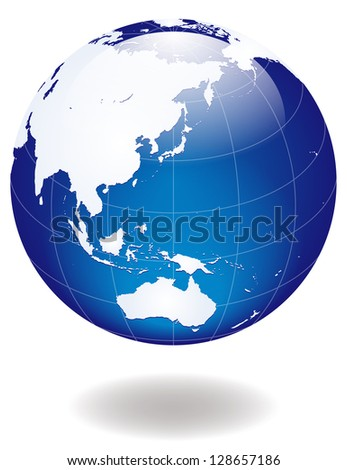 blue glossy Earth - stock photo