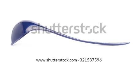 Blue glossy plasic kitchen food serving ladle spoon isolated over the white background, side view foreshortening
