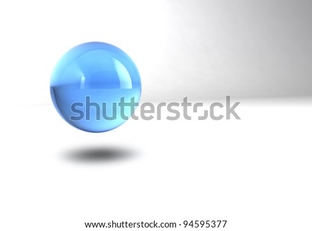 blue glossy sphere isolated on white background - stock photo