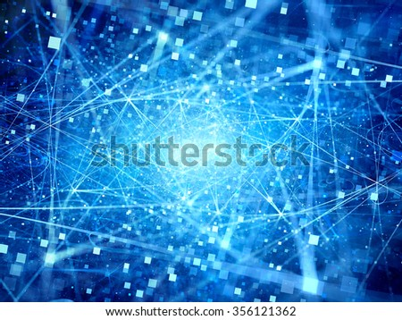 Blue glowing connections in space with particles, big data, computer generated abstract background - stock photo