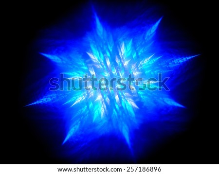 Blue glowing fractal in space, computer generated abstract background