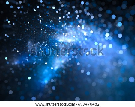 Blue glowing nebula with stars in bokeh, depth of field, computer generated abstract background, 3D rendering