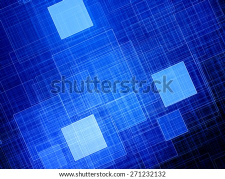 Blue glowing squares fractal, computer generated abstract background - stock photo