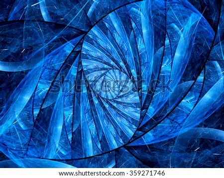 Blue glowing stained-glass fractal, computer generated abstract background - stock photo